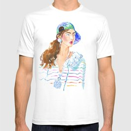 fashion #50: girl in a striped blouse and cap T-shirt