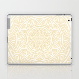 Pale Yellow Simple Simplistic Mandala Design Ethnic Tribal Pattern Laptop & iPad Skin