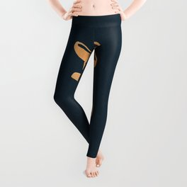 Hustle Text Copper Bronze Gold and Navy Leggings