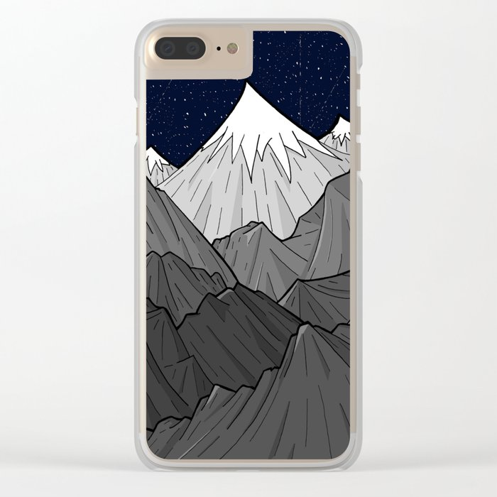 The Dark Grey Mountains Clear iPhone Case