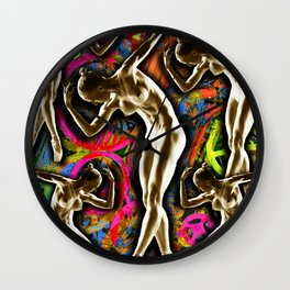 Woman In The Machine Frieze Color 1 Wall Clock
