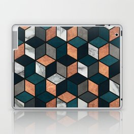 Copper, Marble and Concrete Cubes with Blue Laptop & iPad Skin