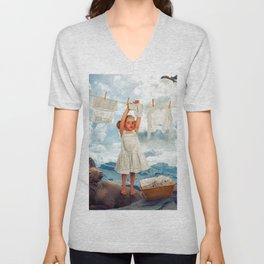 Little Girl Uses Capricorn As Clothesline Collage Ultra HD Unisex V-Neck