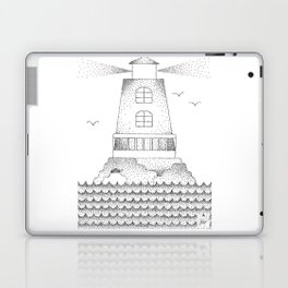 Lighthouse Pointillism Black and White Laptop & iPad Skin