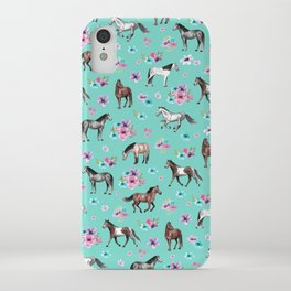 Hand drawn horses, Flower horses, Floral Pattern, Aqua Blue iPhone Case