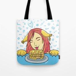 Cat Girl Pancakes Doodle  Tote Bag