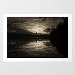 Sundown At Lake Heve 5 sepia Art Print
