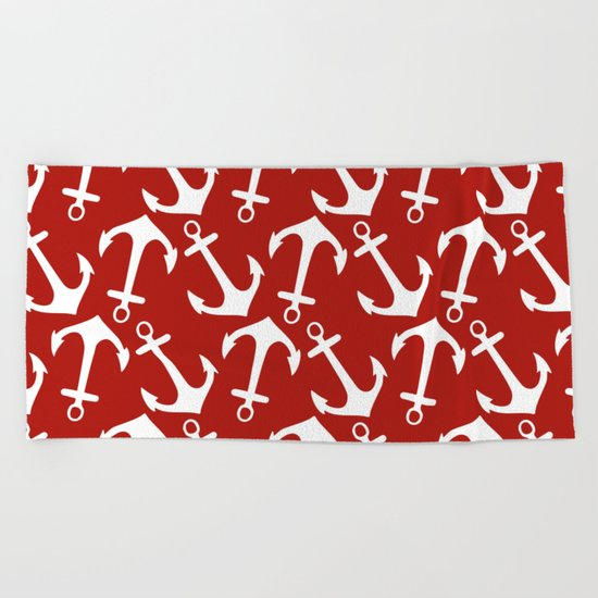 Maritime Nautical Red and White Anchor Pattern - Anchors on #Society6 Beach Towel