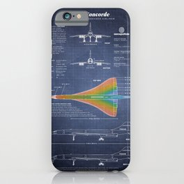 Concorde Supersonic Airliner Blueprint (dark blue) iPhone Case