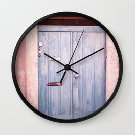 Pink Wall in Lisbon Wall Clock