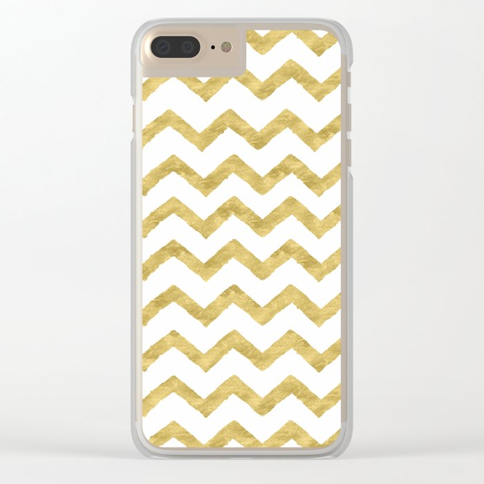 Chevron Gold And White Clear iPhone Case