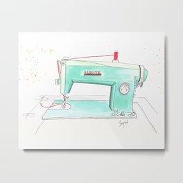 Vintage White 43-8 Sewing Machine in Aqua Metal Print