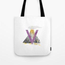 V is for Volcano - Letter V Monogram Tote Bag