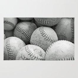Vintage Baseballs in Black and White Rug