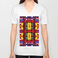 quilt V-neck T-shirts featuring urban quilt by stoneRage