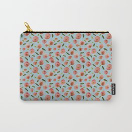 Poppies Hand-Painted Watercolors in Rose Pink on Sky Blue Carry-All Pouch