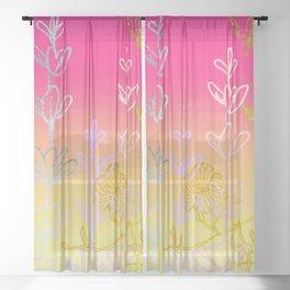 Metallic gold, rose gold, floral field Sheer Curtain