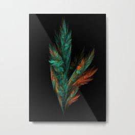 flora green fractal Metal Print