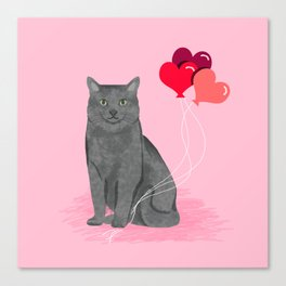 Cat breed grey cats valentines day heart balloons kitty cat gifts Canvas Print