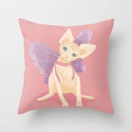 Blue Eyed Sphynx Kitten Wearing Butterfly Wings - Hairless Kitty - Pastel Illustration Throw Pillow