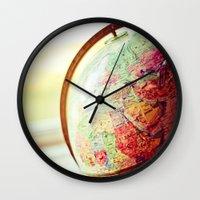 globe Wall Clocks featuring Globe  by Jo Bekah Photography