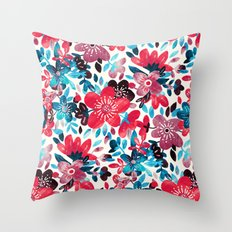Happy Red Flower Collage Throw Pillow