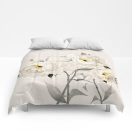 White Peonies Comforters