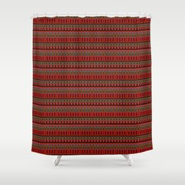 Aztec Tribal Motif Pattern in Red Mustard Salmon and Charcoal Shower Curtain