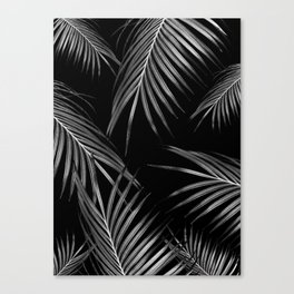 Silver Gray Black Palm Leaves Dream #1 #tropical #decor #art #society6 Canvas Print