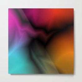 Neon space sparkling lightning from light blue zigzags and dark spots. Metal Print
