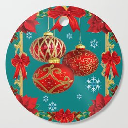 TEAL COLOR RED CHRISTMAS  ORNAMENTS &  POINSETTIAS FLOWER Cutting Board