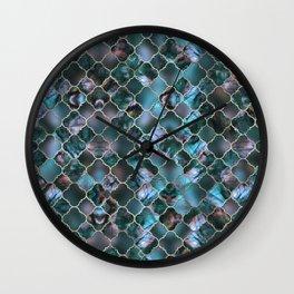 Quatrefoil Moroccan Pattern Labradorite Wall Clock