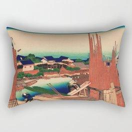 Lumberyard in Honjo Japan - Ukiyo-e Rectangular Pillow
