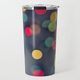 Blurred background with multicolored lights of garland Travel Mug
