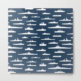 Battleship // Navy Blue Metal Print