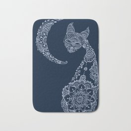 Cat and Moon  - Silver Bath Mat