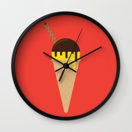 Ice Cream Cone – Vanilla and Chocolate Sauce Wall Clock