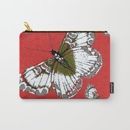 DECORATIVE WHITE & RED PATTERN BUTTERFLIES FROM   SOCIETY6 BY SHARLESART. Carry-All Pouch