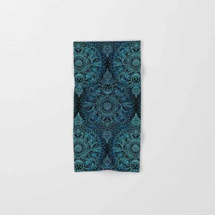 Black & Aqua Protea Doodle Pattern Hand & Bath Towel