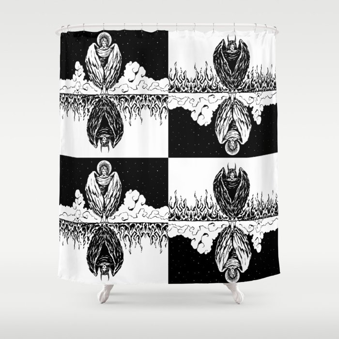 Duality: Angel/Devil Tiling (BW) Shower Curtain