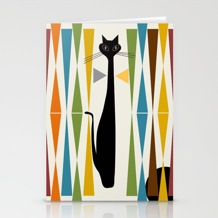 Mid-Century Modern Art Cat 2 Stationery Cards
