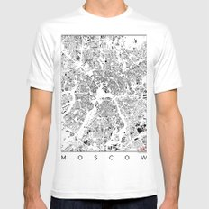 Moscow Map Schwarzplan Only Buildings MEDIUM White Mens Fitted Tee