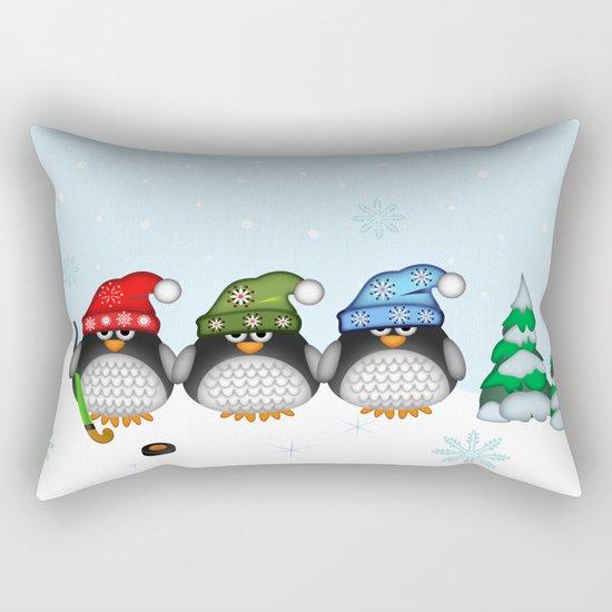 Cute Hockey Penguins in Snowy Winter landscape Rectangular Pillow