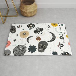 Skull and Galaxy and Stars Abstract Pattern Rug