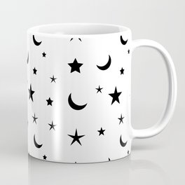 Black moon and star pattern on white background Coffee Mug