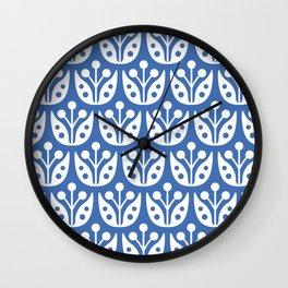 Mid Century Flower Pattern 3 Wall Clock