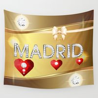 madrid Wall Tapestries featuring Madrid 01 by Daftblue