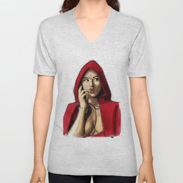 Monica Bellucci - Little Red Riding Hood 2 Unisex V-Neck