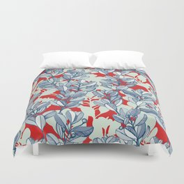Leaf and Berry Sketch Pattern in Red and Blue Duvet Cover