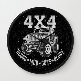 4X4 Blood Mud Guts & Glory Jeep Wall Clock